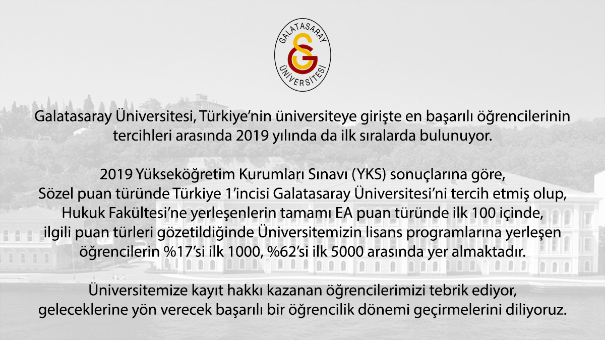 2019-YKS sonuçlarına göre, Türkiye'nin en başarılı öğrencilerinin tercihleri arasında Galatasaray Üniversitesi ilk sıralarda yer alıyor.